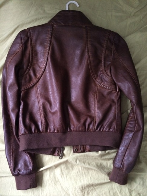 Members Only Aviator Bomber Leather Brown Jacket Image 5