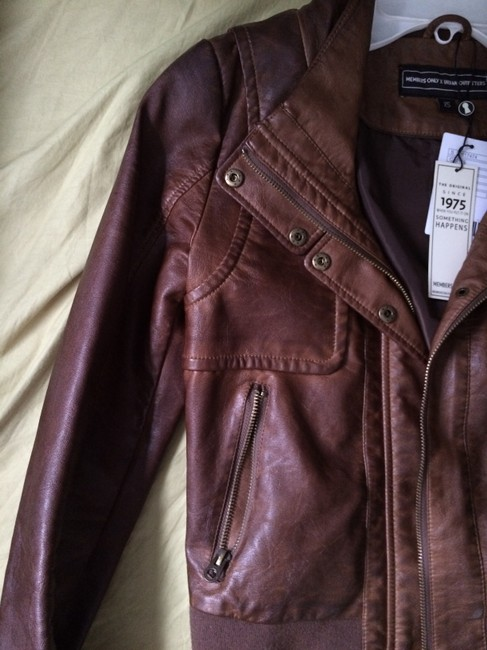 Members Only Aviator Bomber Leather Brown Jacket Image 6