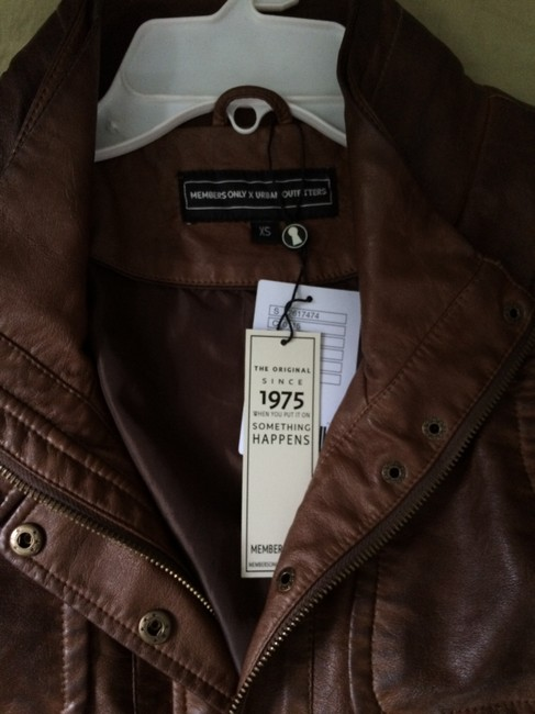 Members Only Aviator Bomber Leather Brown Jacket Image 7