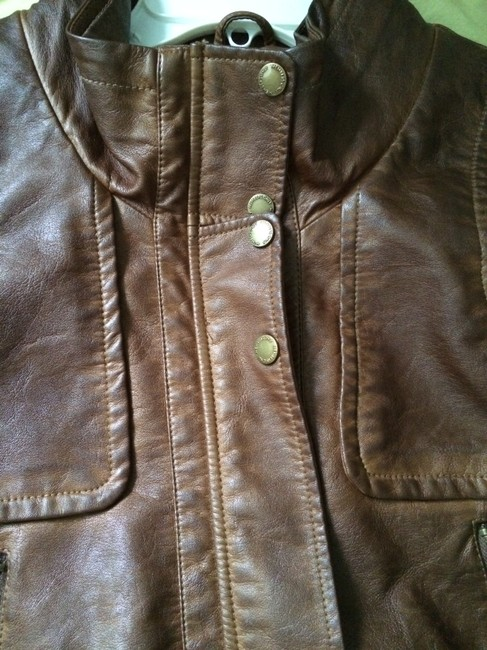 Members Only Aviator Bomber Leather Brown Jacket Image 8
