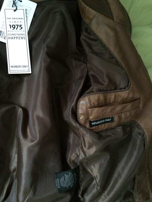 Members Only Aviator Bomber Leather Brown Jacket Image 9