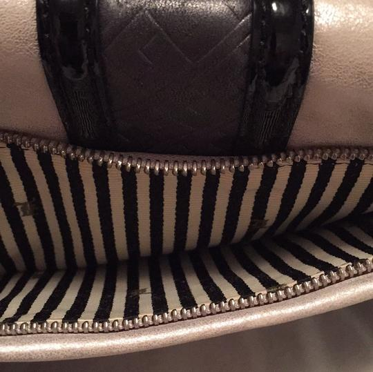 L.A.M.B. Frosted Silver w/grey Inset Leather, Black Patent Trim, Silver Hardware Clutch