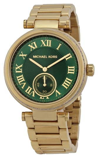 Preload https://item1.tradesy.com/images/michael-kors-gold-green-emerald-dial-crystal-bezel-gold-tone-ladies-watch-3869560-0-0.jpg?width=440&height=440