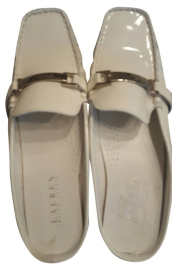 Ralph Lauren Patent Leather Summer Classic White Mules