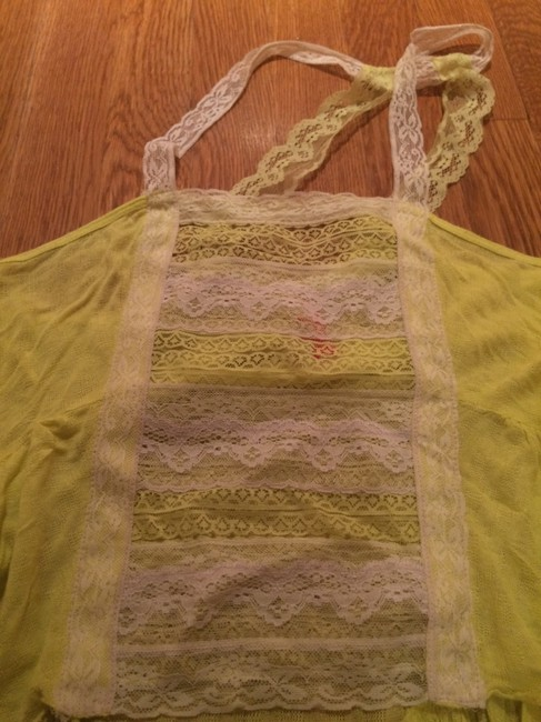 Free People White Green Neon High/low High Low Lace Shirt Tank Top Yellow