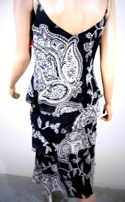 Alex Evenings Tiered Spaghetti Strap Floral Print Sequined Beaded Dress