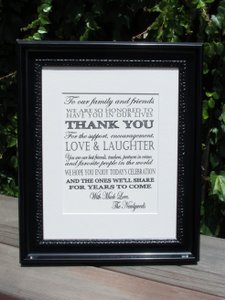 Beautiful Framed Thank You From The Newlyweds Sign