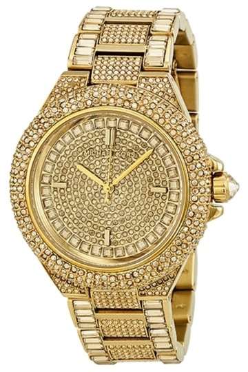 Preload https://item2.tradesy.com/images/michael-kors-michael-kors-swarovski-crystal-encrusted-gold-ion-plated-ladies-watch-3869956-0-0.jpg?width=440&height=440