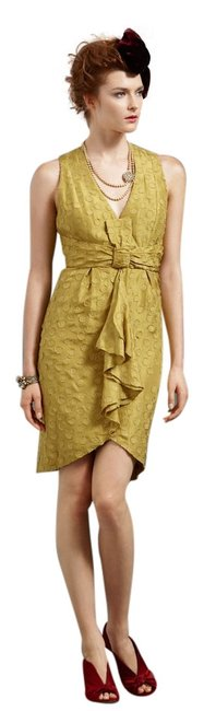 Item - Yellow Tethered Dots Above Knee Formal Dress Size 0 (XS)