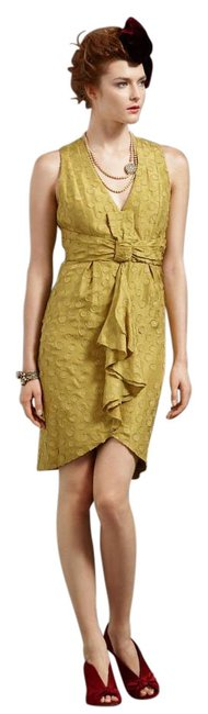 Anthropologie Yellow Tethered Dots Above Knee Cocktail Dress Size 8 (M) Anthropologie Yellow Tethered Dots Above Knee Cocktail Dress Size 8 (M) Image 1