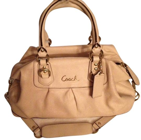 Coach Leather Handbag Purse Gold Cream Satchel in Ivory Image 0
