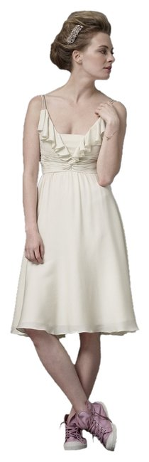 Anthropologie Ivory Couplet Knee Length Cocktail Dress Size 6 (S) Anthropologie Ivory Couplet Knee Length Cocktail Dress Size 6 (S) Image 1