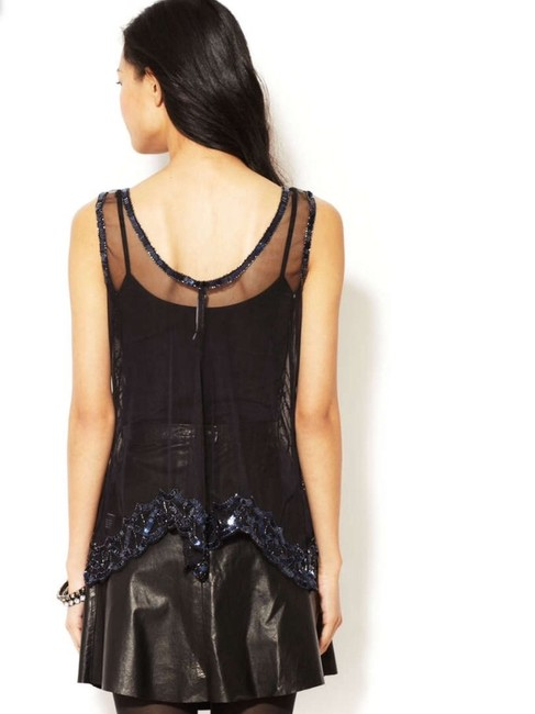 W118 by Walter Baker Sheer Sequin Beaded Party Top Navy
