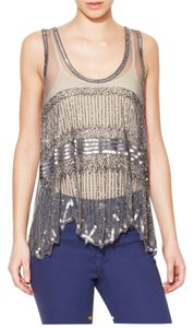 W118 by Walter Baker Sheer Sequin Party Top Silver