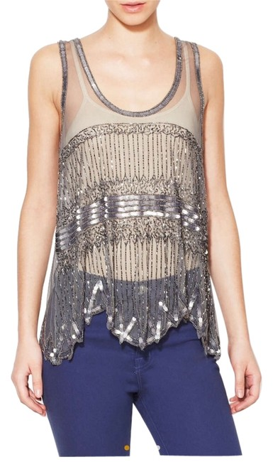 W118 by Walter Baker Sheer Sequin Beaded Party Top Silver