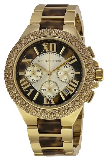 Michael Kors Michael Krs Chronograph Tortoise Shell Crystal Pave Dial Gold Two-tone Ladies Watch