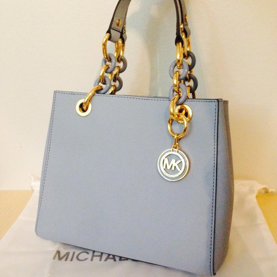 0bf9f89db36c6 Michael Kors Cynthia Small Chain Handle Pale Blue Saffiano Leather Satchel  - Tradesy