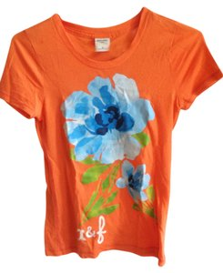 abercrombie kids Floral Graphic T Casual Summer T Shirt Orange
