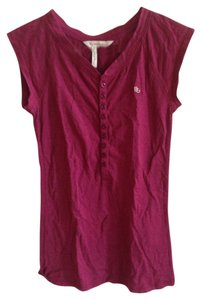 BCBGeneration Buttons V-neck Comfortable T-shirt T Shirt Red