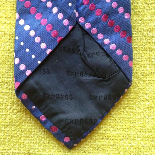 Express EXPRESS Pink Polka Dot on Navy Blue Neck Tie for Man or Woman