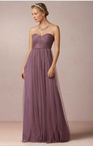 BHLDN Soft Plum Tulle and Polyester Shell Annabelle Feminine Bridesmaid/Mob Dress Size 8 (M)