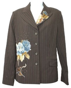 Other Appliques Wool Stripes Brown Jacket Blazer