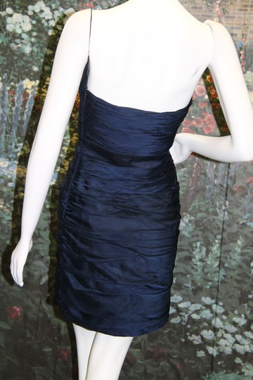 Monique Lhuillier Navy Ruched Strapless Cationic Chiffon Dress