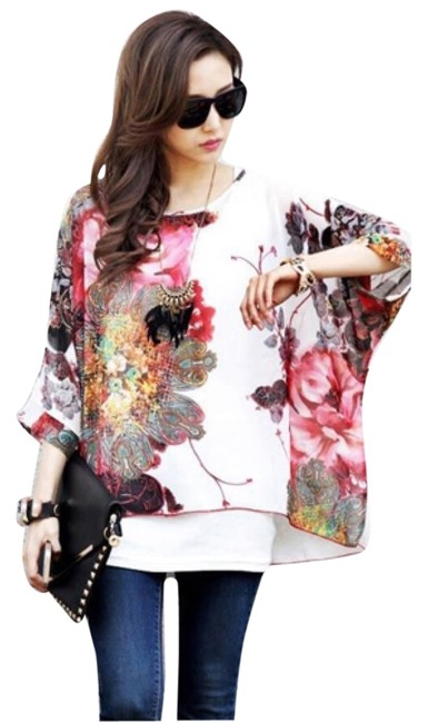 Watercolor Floral Batwing Chiffon Blouse Size OS (one size) Watercolor Floral Batwing Chiffon Blouse Size OS (one size) Image 1