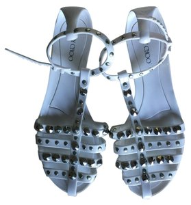 Jimmy Choo White With Silver Studs Sandals