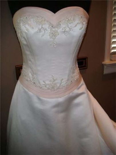 Ivory/Pink Trim Satin Cinderella Feminine Wedding Dress Size 10 (M)