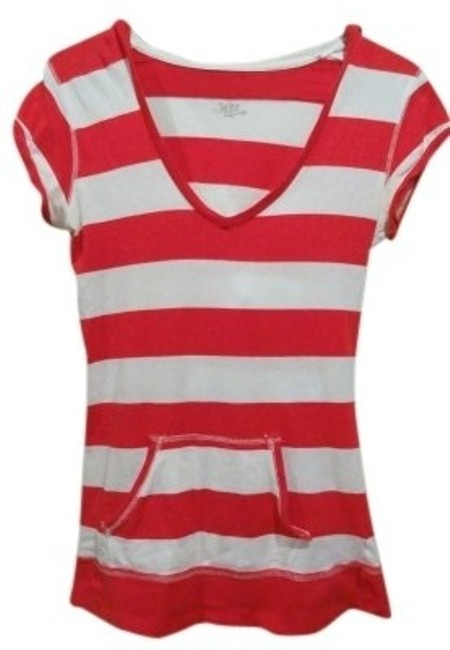 Preload https://item2.tradesy.com/images/poof-apparel-red-white-and-striped-hooded-tee-shirt-size-12-l-38721-0-0.jpg?width=400&height=650
