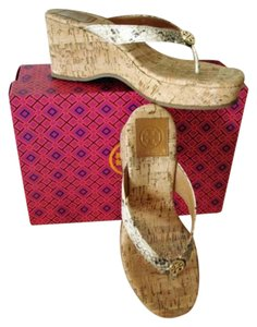 Tory Burch Snake/Natural Wedges