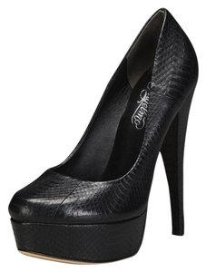 Alejandro Ingelmo Snakeskin Leather Platform Black Pumps