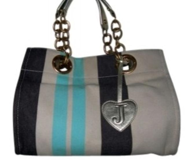 Item - Footed Metal and Leather Accents Multicolor Canvas Shoulder Bag