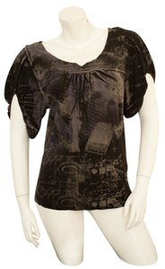 AnM Boho Bohemian Gypsy Steampunk Top Black, gray, violet