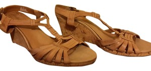 Clarks Wedge Cork Tan Sandals