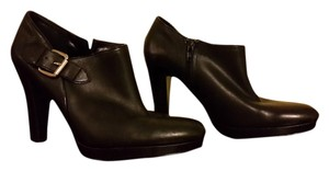 Ralph Lauren Leather Buckle Platform Chunky Heel Black Boots