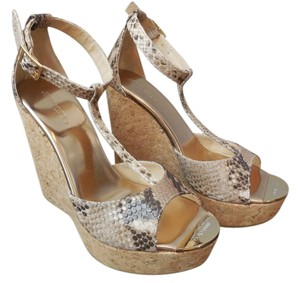 Jimmy Choo Pela Snakeskin New Tan Wedges