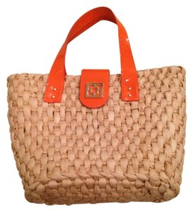 Trina Turk Patent Leather Beige/Orange Beach Bag