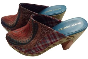 Tracy Porter Snakeskin Heels Wooden Soles Paisley Mules