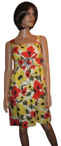 Shoshanna Silk Linen Floral Empire A-line Dress