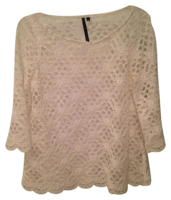 Kay Celine Lace Scalloped Top White