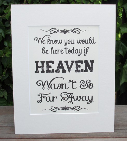 Great Rustic Sign For Your Memory Table-beautiful Ivory Color-sign Reads We Know You Would Be Here Today If Heaven So