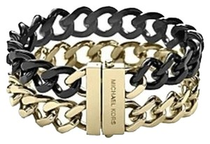Michael Kors NWT Michael Kors Two-Tone Black And Goldtone Curb Chain Bracelet