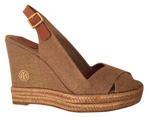 Tory Burch Gold/Natural Wedges