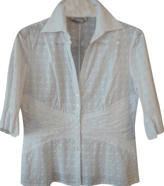 Preload https://item2.tradesy.com/images/kay-unger-white-blouse-size-14-l-3875536-0-0.jpg?width=400&height=650