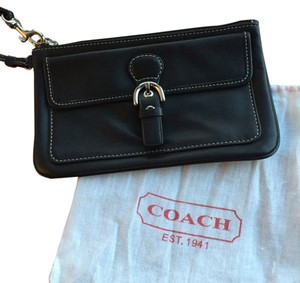 Coach Leather Buckle Wristlet in Black