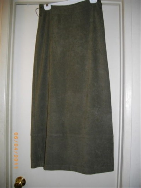 Zara Side String Design Casual A-line Maxi Skirt Olive Green