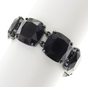 Ralph Lauren New! LAUREN by Ralph Lauren Black Faceted Glass Link Bracelet Hematite Tone