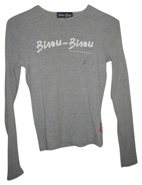 Bisou Bisou Longsleeve T Shirt Gray and White